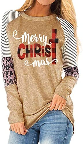 Merry Christmas T Shirt Women Xmas Plaid Letter Print Baseball Tops Tees Casual Long Sleeve Holiday Shirts Tops