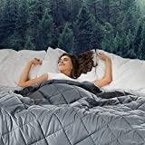 Weighted Blanket(25lbs, 60''x80'', Queen Size),Bed Couch Heavy Blanket with 100% Cotton Material and Glass Beads for Kids and Adult-Dark Grey
