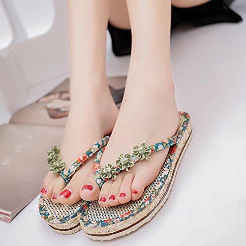 Elevin (tm) Nouvelles Femmes Été Peep-toe Plate-forme Basse Tongs Plates Pantoufle Sandale Chaussures Vert