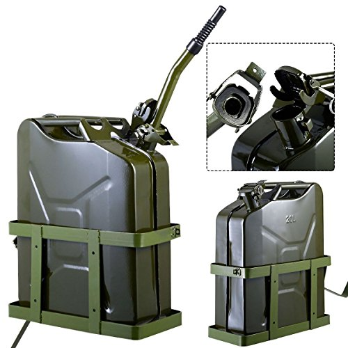Clever Market 5 Gallon Fuel Pack Spare Container Automotive Jerry Can Holder Gas Tank Off Road Metal 20L Military Green
