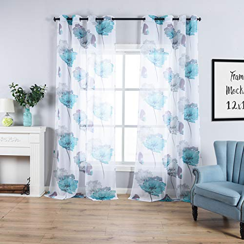 (Countryside Style Flowers and Butterflies Print Sheer Curtains Grommet Top Long Window Curtains for Boys' Bedroom,Blue-Green Curtains Drapes for Living Room/Dining Room 54 x 108 Inches,2 Panels)