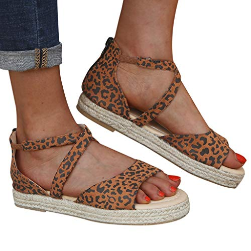 SOOTOP Women's Ankle Strap Platform Sandals/Open Toe Summer Flatform Sandal Leopard Wedges Women Fashion Retro Peep Toe Brown -