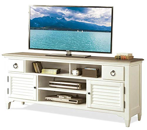Riverside Tv Console - Louver TV Console in Natural and Paperwhite Finish