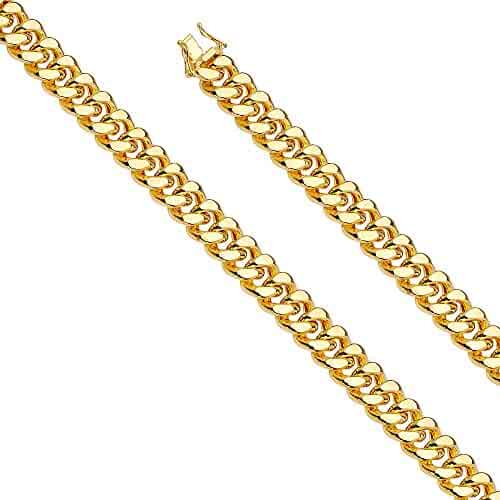 14k Yellow Gold 12mm Hollow Miami Cuban Chain Necklace with Box Lock Clasp