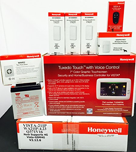 Honeywell Vista 21IP, Tuxedo Wifi Keypad, (3) 5816WMWH, 5...