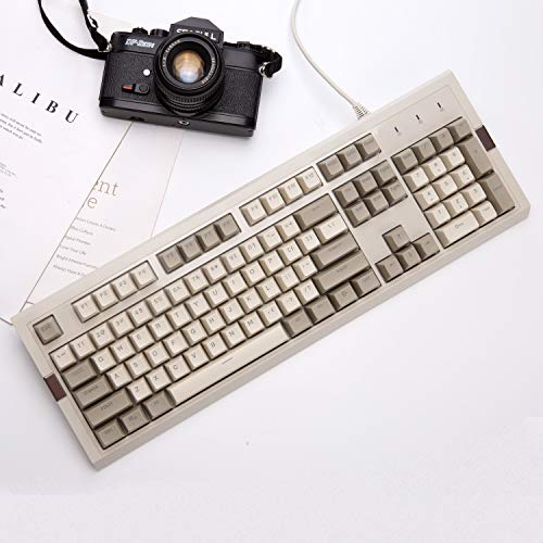 Ajazz AK510 Retro Mechanical Gaming Keyboard - PBT SP Spherical Keycaps - Classic Grey-White Matching - RGB Backlight - Brown Switches
