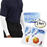 Aqua X ARM Sleeves for Men and Women Sun Protective Skin UV Cut Flexible & Durable (White 2 Pairs)
