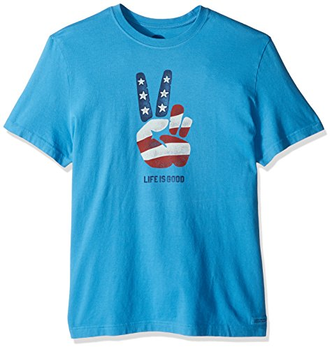 Life is good Men's Crusher Peace Flag Tee, Marina Blue, Medium