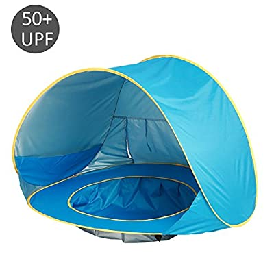 Multi-Purpose Baby Beach Tent,Automatic Pop Up, with Mini Swimming Pool Portable and Removable UV Protection Sun Shelter for Infant