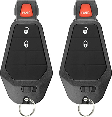 KeylessOption Keyless Entry Remote Control Car Key Fob Starter Clicker for Dodge Chrysler Jeep (Pack of 2)