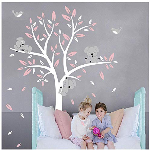 LUCKKYY Three Cute Koalas Tree Branches Wall Decal Wall Sticke Wall Decal Vinyl Wall Sticker Baby Nursery Decor Kids Room Decoration (Pink) (Koala Tree)