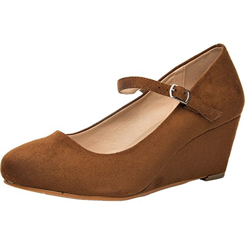 Women's Wide Width Wedge Shoes - Mary Jane Shoes w/Ankle Buckle Strap, Plus Size Heel Pump w/Round Closed Toe Rubber Sole Memory Foam Insole. (Tan 180108,9.5WW) (Best Shoes For Plus Size)