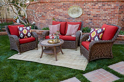 Quality Outdoor Living 65-517109A Stonecrest All-Weather Wicker 4 Piece Deep Seating Set, Brown Red Cushions (Furniture Quality Wicker)