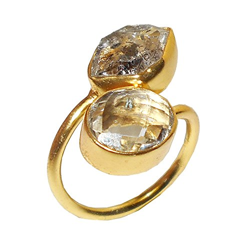Bhagat Jewels Made In 22k Gold Vermeil Raw Herkimer Diamond And Crystal Quartz Gemstone Bypass Ring ()