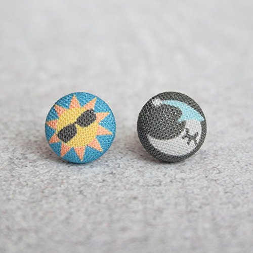 Sun and Moon Fabric Button ()