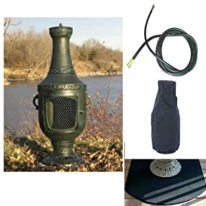 QBC Bundled Blue Rooster Venetian Chiminea with Propane Gas Kit, Half Round Flexbile Fire Resistent Chiminea Pad, 20 ft Gas line, and Free Cover Antique Green Color - Plus Free EGuide