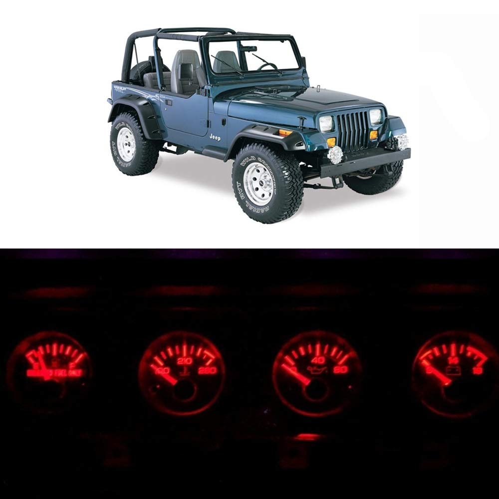 WLJH Bright Red Instrument Panel Gauge Cluster Speedometer Tachometer Indicator Bulb Full Led Light Kits Package Replacement for Jeep Wrangler 1992-1995