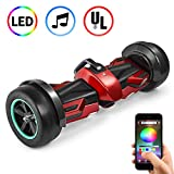 Spadger 8.5'' GF1 Hoverboard with Bluetooth Speakers and Led Lights,UL2272 Certified for Kids and Adult, Red Self Balancing Scooter Off...