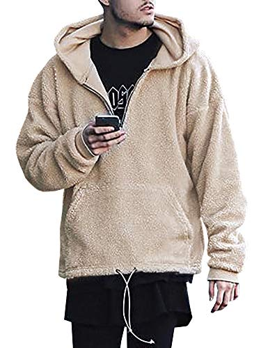Gtealife Mens Pebble Pile Fleece Pullover Pockets Outfits Fleece Sherpa Pullover Hoodie (XL, -