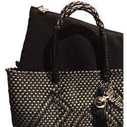 Bolsa Artesanal Mexicana tejida a mano incluye funda para iPad, en colores negro y dorado