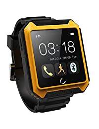 """Wontimes Deluxe Edition U TERRA Smart Watch 1.6"""" Touch Screen Bluetooth 4.0 Ip68 Waterproof Shockproof Dustproof for Samsung Galaxy Note 4/3/2 S6/S6 Sony Xperia Z4/Z3/Z2 HTC ONE M7/M8/M9 LG G2/G3/G4 Android Smartphones Iphone 5s/5c/5/4s IOS Cellphone-Yellow"""