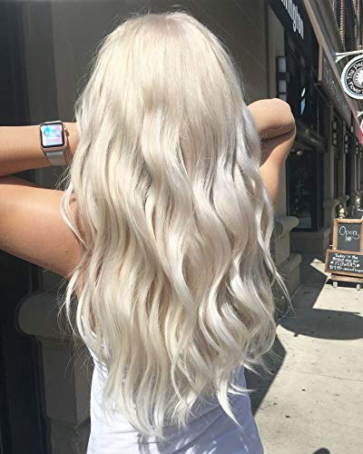 "Full Shine 14"" U Clip Wig for Women Color #60 Plantinum Blonde Half Wig Real Human Hair 120g Full Head One Piece Clip in Hair Extensions"