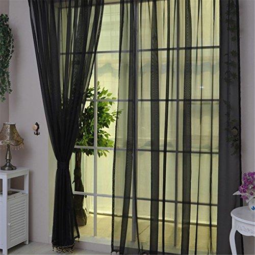 Honel カーテン ウィンドウスクリーニング リビングルーム ファッション 寝室装飾 薄手 カーテン 装飾 窓 部屋 オシャレ ブラック