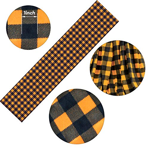 HAKACC 13x108 inches Pumpkin Color Buffalo Plaid Table Runner Cotton Burlap Table Runner for Halloween Holiday Birthday Party Table Home Decoration