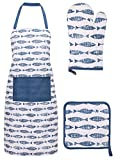 Cooking Apron Kitchen Apron, Glove, and Potholder Set,Fish Market - Navy