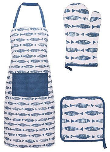 Alice In Wonderland Card Costumes (Cooking Apron Kitchen Apron, Glove, and Potholder Set,Fish Market - Navy)