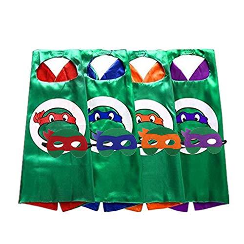 Teenage Mutant Ninja Turtle Halloween Costume Diy (STARKMA 4 PCs Cartoon Turtle Hero Role Play Costume Two Side Satin Cape and Felt Mask Party Favors for)