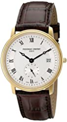 Frederique Constant Slimline Men's FC-245M4S5 Designer Stainless Steel Plated Yellow Gold Watch With Brown Leather Band