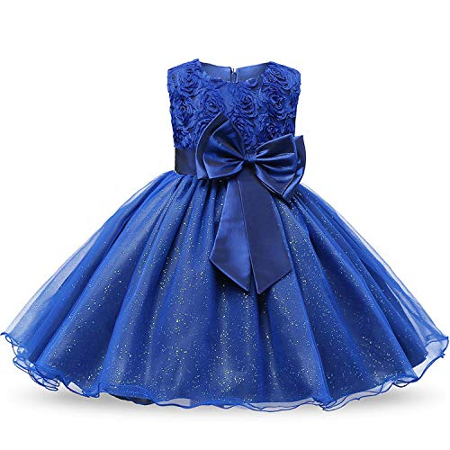 r Wedding Baby 0-12 Years Birthday Outfits Children Girls First Communion Dresses Kids Party Wear,Dark Blue,Pc ()