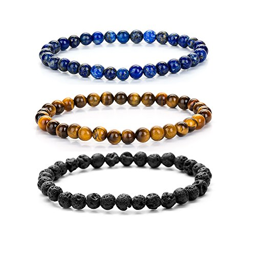 ZHEPIN Mens Womens 6mm Natural Gemstone Beaded Crystal Stretch Beaded Couples Bracelets ()
