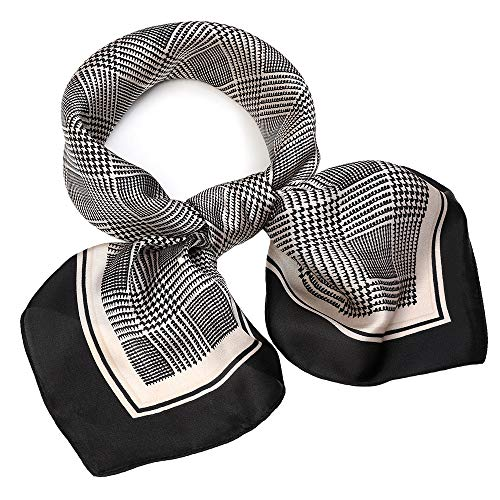 (Silk Like Scarf Square Satin Hair Scarf Fashion Grid Neck Scarfs for Women Black 27'' x 27'')