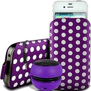 Online-Gadgets UK - Nokia Asha 500 PU de protección de la polca del cuero de la cremallera de diseño antideslizante de cordón en la bolsa del caso con cierre rápido y recargable de 3,5 mm Mini Altavoces - Purple
