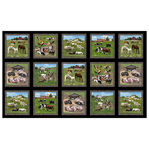 Elizabeth's Studio Farm Animals 24in Allover Panel Black Fabric