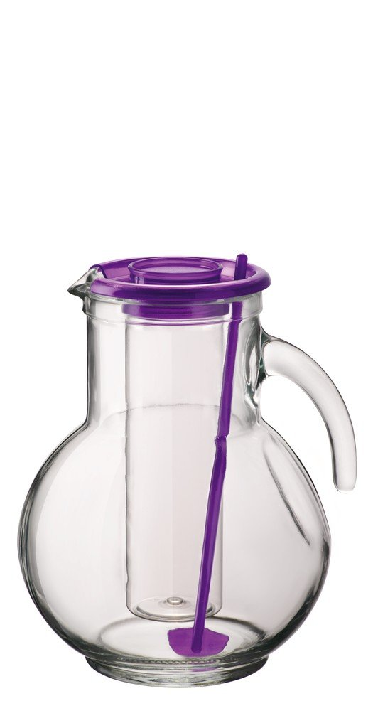 Bormioli 2 Litre Glass Jug With Lilac Ice Cube Tray Insert Lid BOR260180