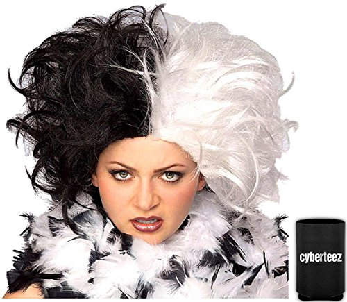 Cruella De Vil Deville Ms Spot 101 Dalmations Women's 2- Tone Costume Wig + Coolie for $<!--$15.95-->