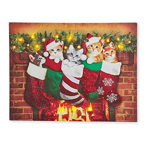 Collections Etc Lighted Cats in Christmas Stockings Canvas Wall Art with Warm Lit Glow - Adorable Festive Holiday Accent