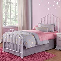 Fashion Bed Group Lorna Warm White Kids Twin Metal Headboard with Accented Spindles