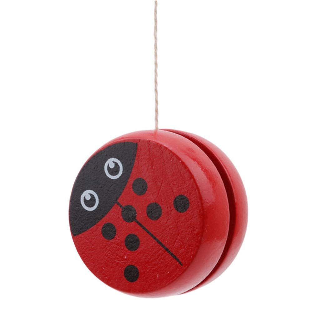Sevenfly Yo Yo Toys Red Beetle Pattern Wooden Responsive Yoyos for Beginners Children Toy Speed Ball Return for Gifts