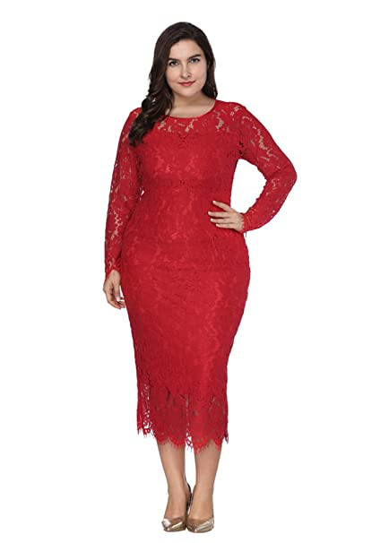 ZhuiKun Vestidos Tallas Grandes Mujeres Encaje Manga Larga Vestido de Fiesta Coctel Rojo XL