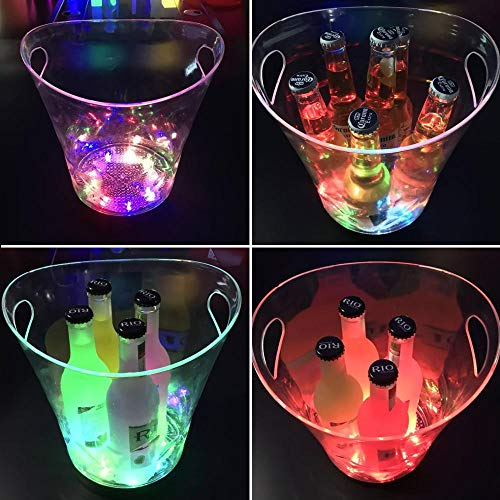 (AUOKER LedIceBucket, 5L Large Capacity Bear Lit Keg Cooler with Ergonomic Handle, 6 Colors Changing, Battery Powered Beer Wine Champagne Clicquot Container for Bar, KTV, Party, Wedding Etc)