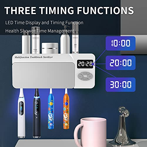 UV Toothbrush Sanitizer, Multifunctional Bathroom Wall Mounted Toothbrush Holder with Bluetooth Music Player, 4000mAh USB Charging, Shower Clock Timer, Electric Toothbrushes Organizer
