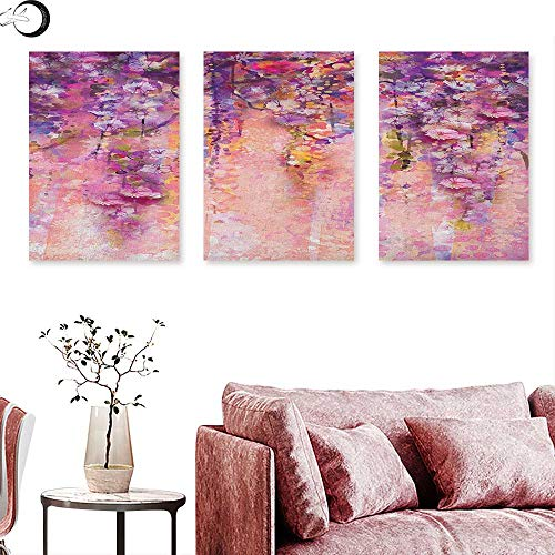 Anniutwo Flower Poster Prints Watercolor Painting Effect Wisteria Tree Blossoms Soft Scenic Spring Display Triptych Art Pink Violet Purple W 12