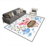 Extra Large Area Rug Pig in a Jacket ana hat Pig Warmly dressein Winter it is Among The Snow ansnowmen Watercolor Illustration wi a Pig 5'x7' (W150cm x L210cm