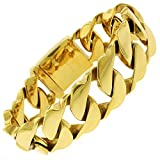 """Stainless Steel Mens Thick Fancy Yellow Gold Plated Cuban Curb Link Bracelet Chain 21mm 8.5"""""""