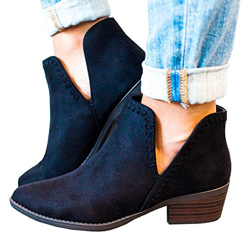 Kootk Boots for Women Ankle Winter Autumn Cut Out Stacked Mid Low Heel Western Side Zipper Pointed Toe Booties Black yFQub