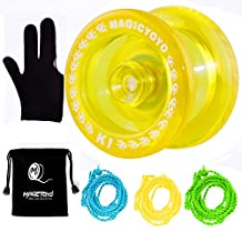 MAGICYOYO Responsive YoYo K1-Plus with Yoyo Sack + 3 Strings and Yo-Yo Glove Gift (Crystal Yellow)